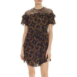 Sandro NWT Alderic Black Butterfly Lace Minidress